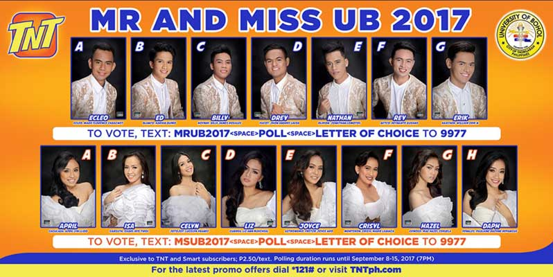 Search for Mr and Miss UB Personality 2017 SMART Texters Choice  Text Poll